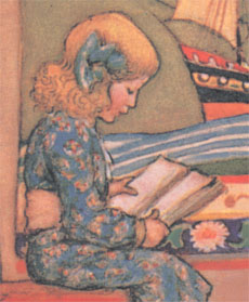 Girl Reading, detail from The Golden Staircase, by M. Dibdin Spooner