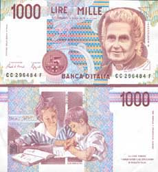Maria Montessori, shown on Italian 1000 Lire note