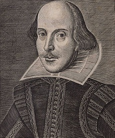 William Shakespeare, engraving from the cover of his first folio, 1623