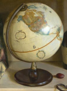Detail from Globe and Books by Linda Mann by Linda Mann