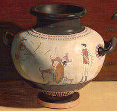 Vase showing Acteon devoured by his own Hounds at the hand of Artemis