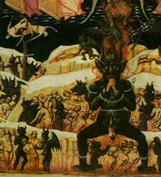 Damned souls in Hell, a detail from an early Christian painting.
