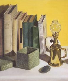 Lamp and Books (detail), by Linda Mann