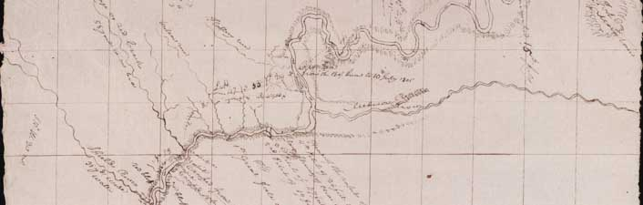 A detail of a map drawn during the Lewis and Clark expedition, c. 1800